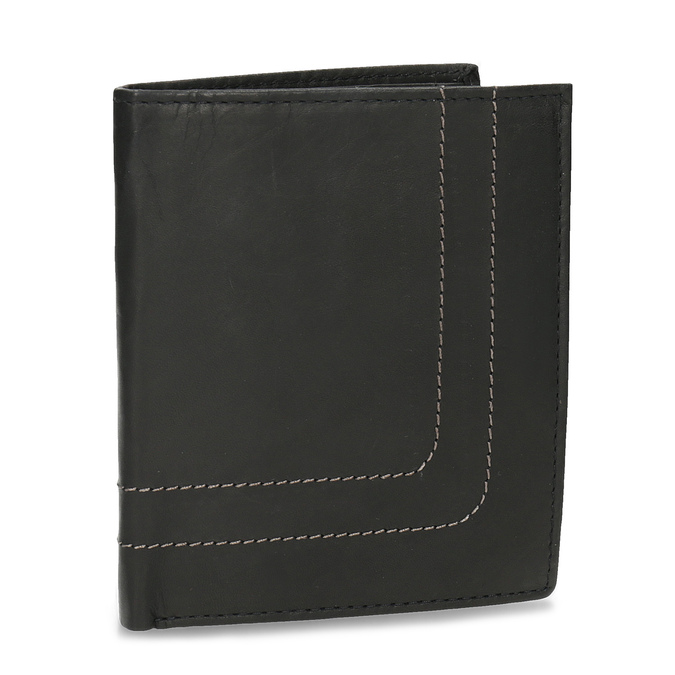Kožená peňaženka s prešitím bata, hnedá, 944-6148 - 13