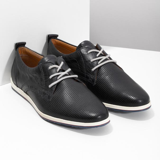 Ležérne kožené poltopánky bata, čierna, modrá, 824-9124 - 26