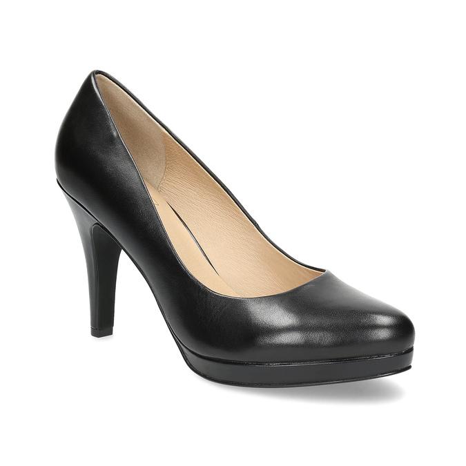 Čierne kožené lodičky insolia, čierna, 724-6104 - 13