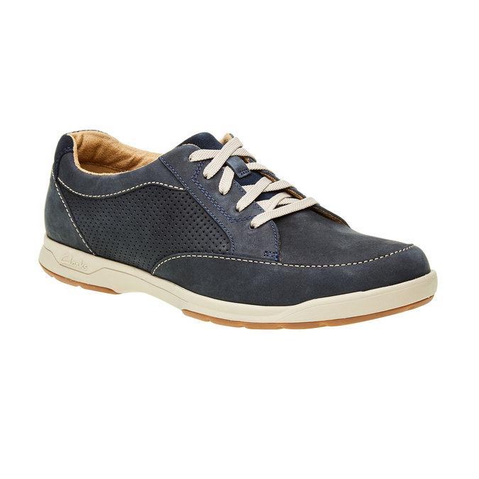 Pánska obuv z brúsenej kože clarks, modrá, šedá, 826-9006 - 13
