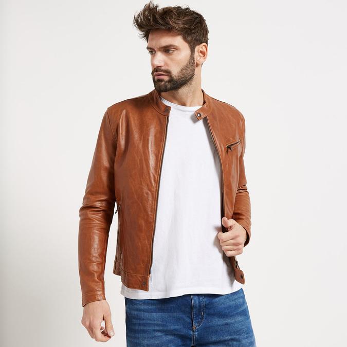 Pánska kožená bunda so štýlovým prešívaním bata, hnedá, 974-3142 - 13