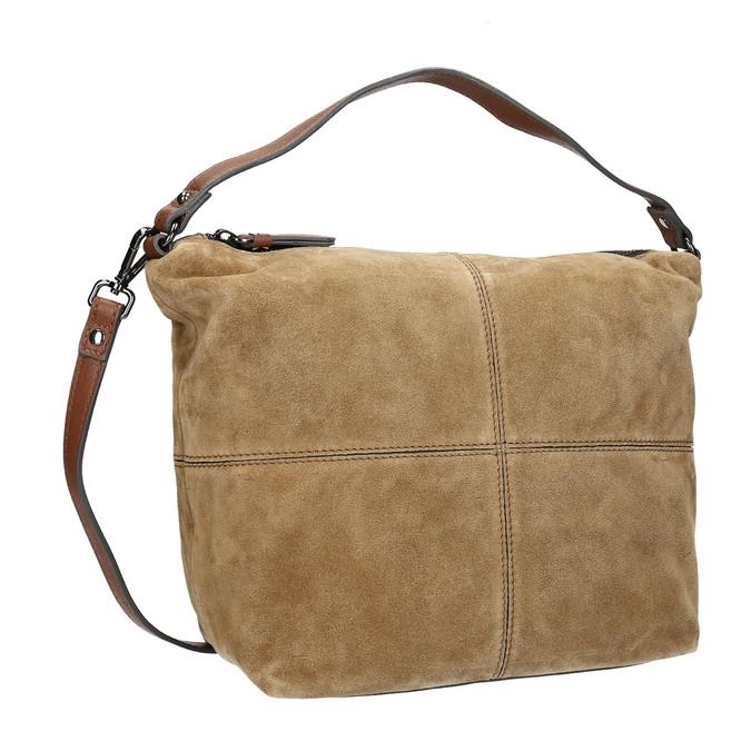 Kožená kabelka s prešitím bata, hnedá, 963-3130 - 13