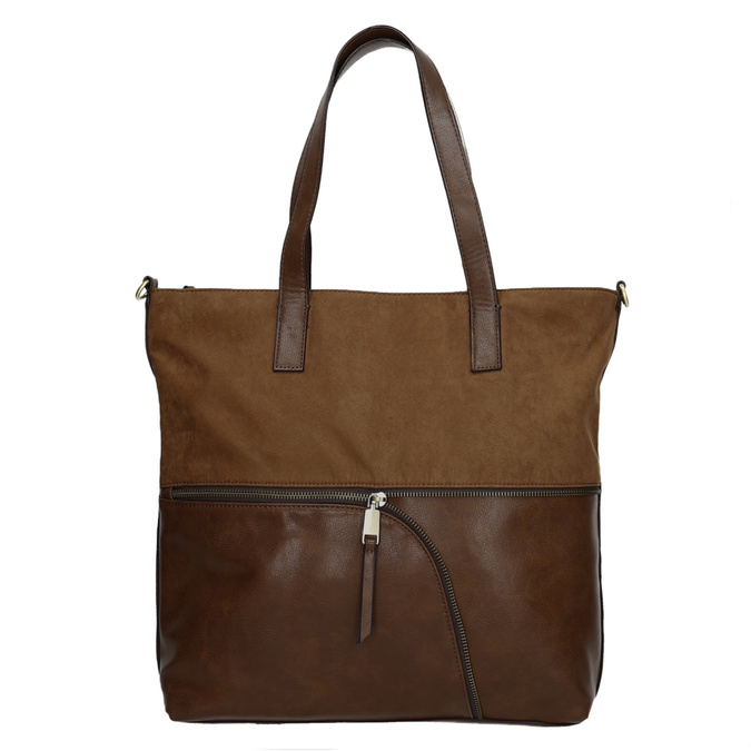 Dámska kabelka s asymetrickým zipsom bata, hnedá, 961-3847 - 26