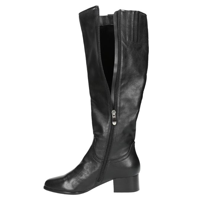 Dámské kožené čižmy na nízkom podpätku bata, čierna, 694-6631 - 19