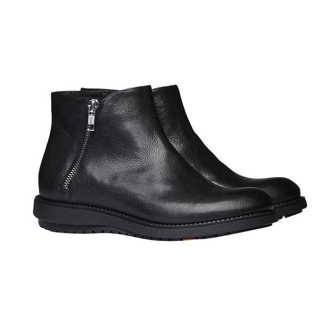 Kožená členková obuv flexible, čierna, 594-6227 - 26