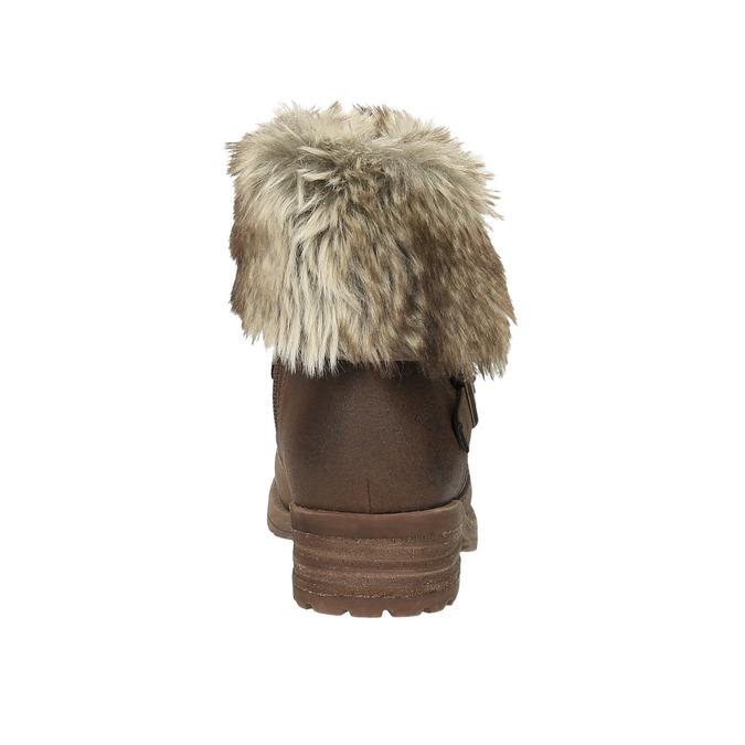 Dámska členková obuv s kožúškom bata, hnedá, 591-4601 - 17