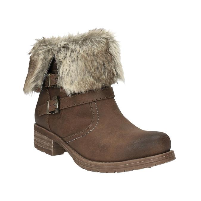 Dámska členková obuv s kožúškom bata, hnedá, 591-4601 - 13