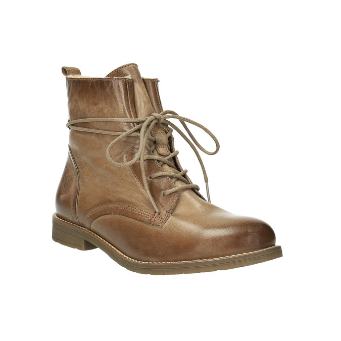 Kožená členková obuv so zateplením bata, hnedá, 594-4610 - 13