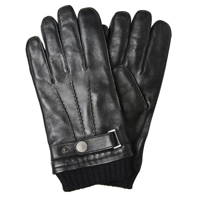 Pánske kožené rukavice bata, čierna, 904-6127 - 13