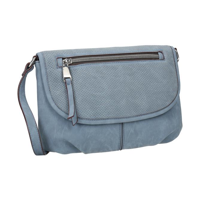 Crossbody kabelka s perforovanou klopou bata, modrá, 961-9709 - 13