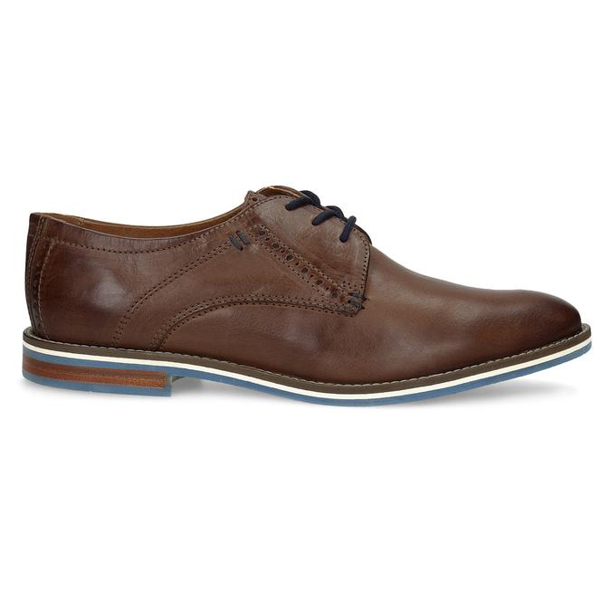 Hnedé kožené poltopánky s pruhovanou podošvou bata, hnedá, 826-4790 - 19