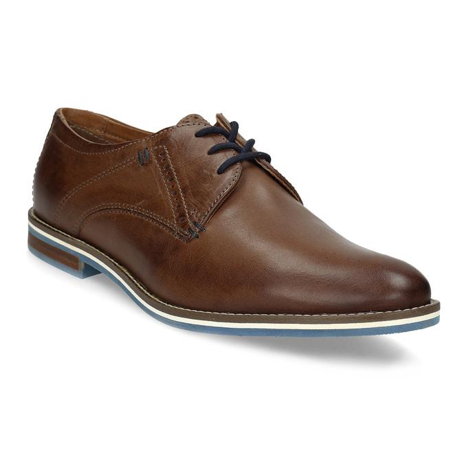 Hnedé kožené poltopánky s pruhovanou podošvou bata, hnedá, 826-4790 - 13