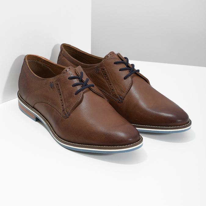 Hnedé kožené poltopánky s pruhovanou podošvou bata, hnedá, 826-4790 - 26