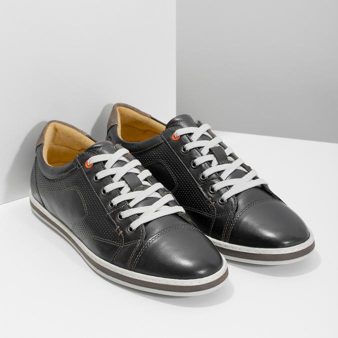 Pánske kožené tenisky bata, čierna, 846-6617 - 26