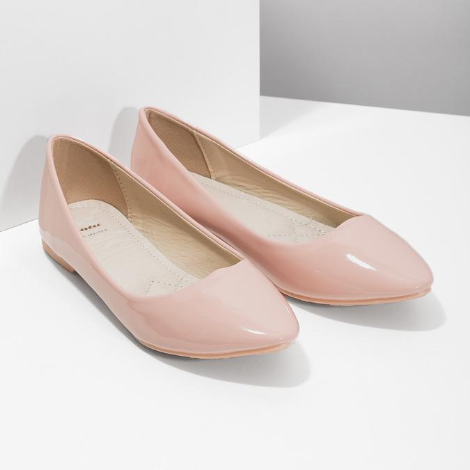 Lakované dámske baleríny bata, ružová, 521-5602 - 26