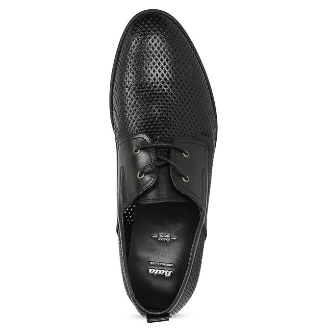 Kožené poltopánky s perforáciou bata, čierna, 854-6601 - 17