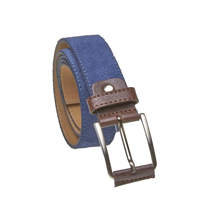 Kožený pánsky opasok s perforáciou bata, modrá, 953-9325 - 13