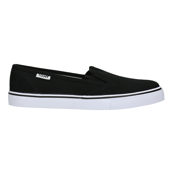 Čierne dámske Slip-on tomy-takkies, čierna, 589-6170 - 15