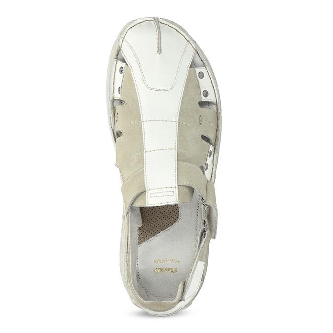Pánske svetlé kožené sandále bata, biela, 866-1622 - 17