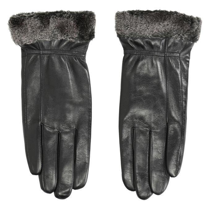 Kožené dámske rukavice s kožušinkou bata, čierna, 904-6112 - 26