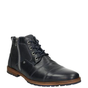 Kožená členková obuv so zipsom bata, modrá, 826-9911 - 13