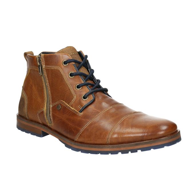 Kožená členková obuv so zipsom bata, hnedá, 826-3911 - 13