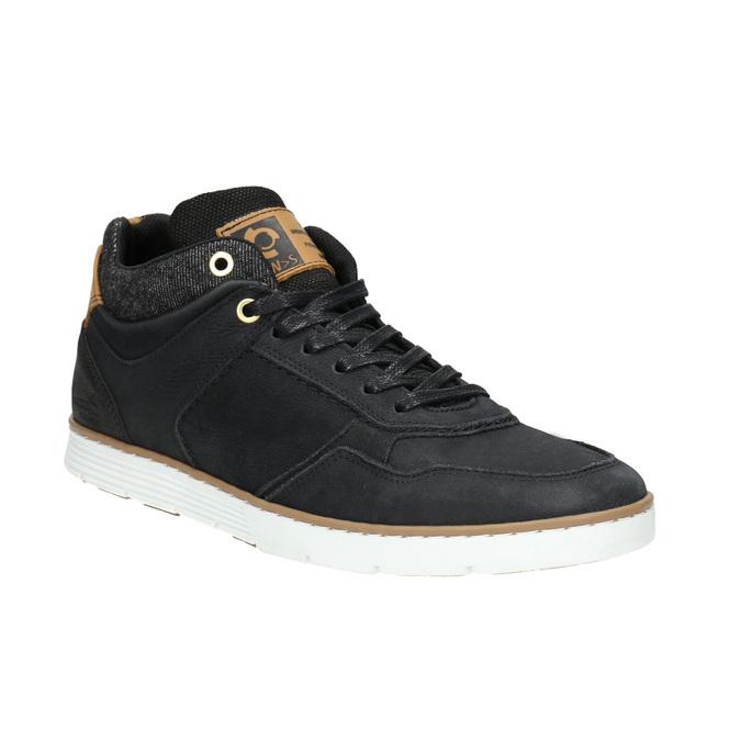 Členkové pánske tenisky z kože bata, čierna, 846-6641 - 13