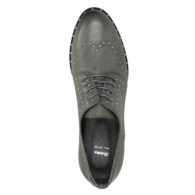 Kožené poltopánky s kovovými cvokmi bata, šedá, 526-9643 - 15