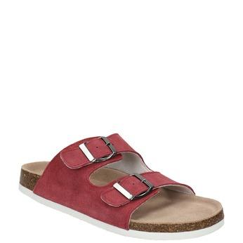 Kožené dámske papuče de-fonseca, červená, 573-4621 - 13