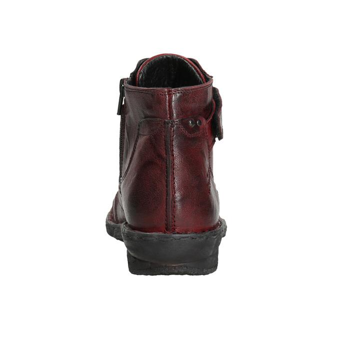 Dámska kožená členková obuv bata, červená, 596-5656 - 17