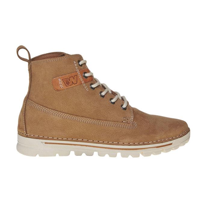 Kožená kotnikova obuv na šněrování weinbrenner, hnedá, 594-8323 - 15
