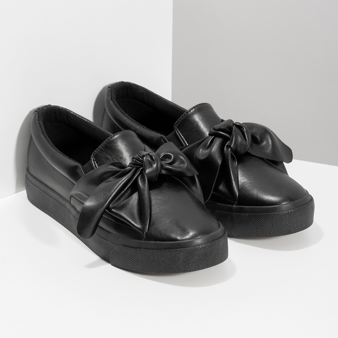 Čierna dámska Slip-on obuv s mašľou north-star, čierna, 511-6606 - 26