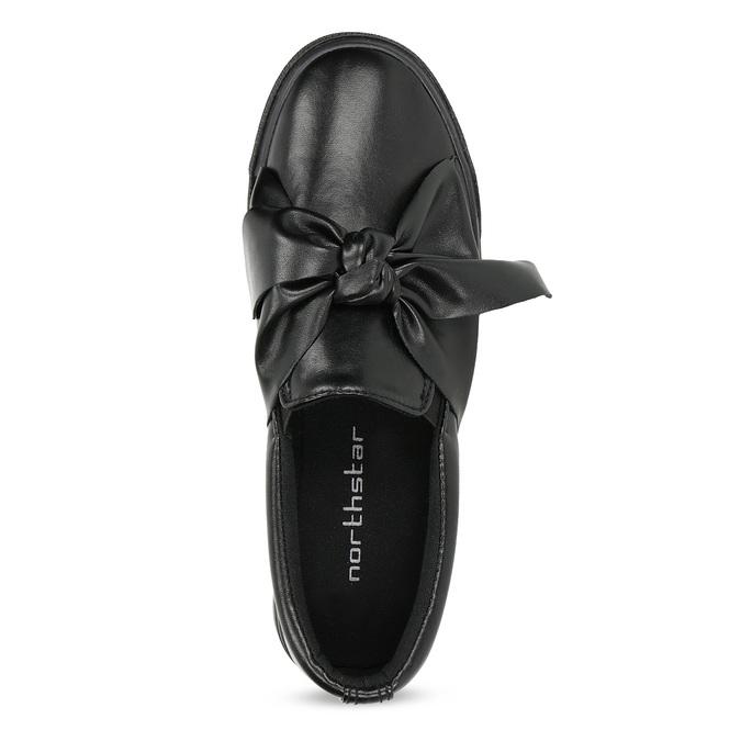 Čierna dámska Slip-on obuv s mašľou north-star, čierna, 511-6606 - 17
