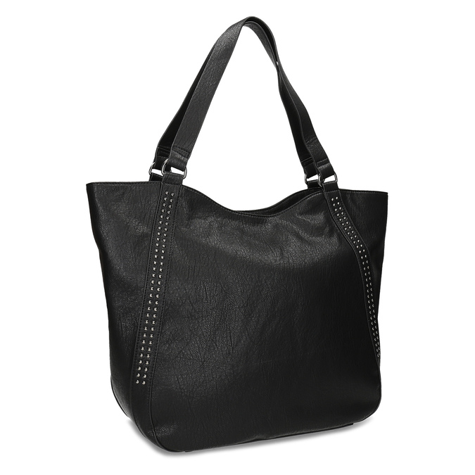 Čierna dámska kabelka s prešitím bata, čierna, 961-6787 - 13
