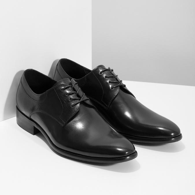 Pánske kožené Derby poltopánky bata, čierna, 824-6233 - 26