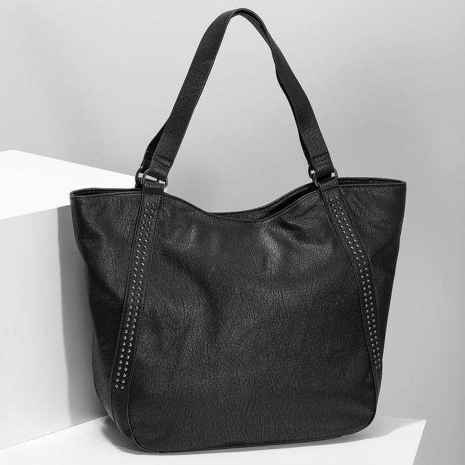 Čierna dámska kabelka s prešitím bata, čierna, 961-6787 - 17