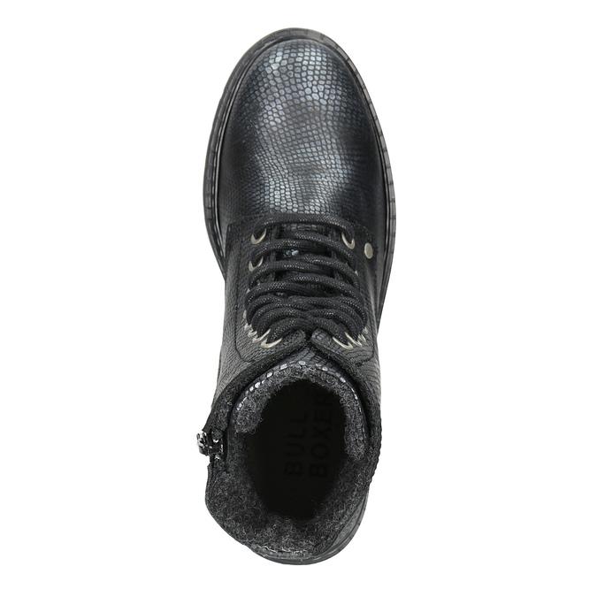 Detské kožené šnurovacie topánky bullboxer, čierna, 496-6016 - 15
