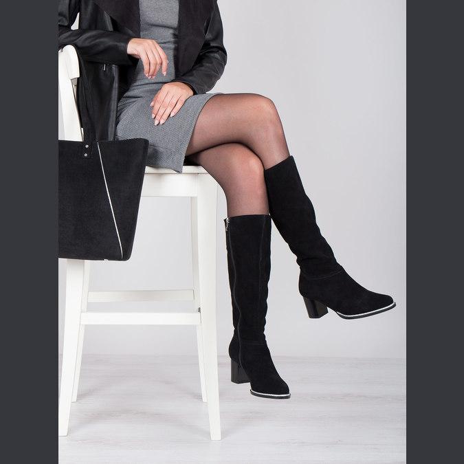 Čierne čižmy z brúsenej kože bata, čierna, 693-6603 - 14