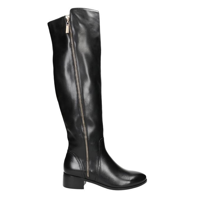Kožené dámske čižmy so zipsom bata, čierna, 594-6653 - 15