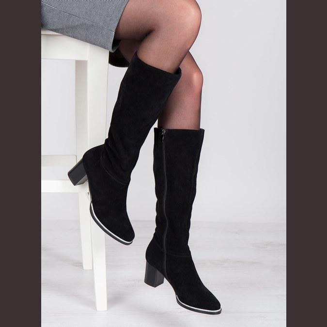Čierne čižmy z brúsenej kože bata, čierna, 693-6603 - 18