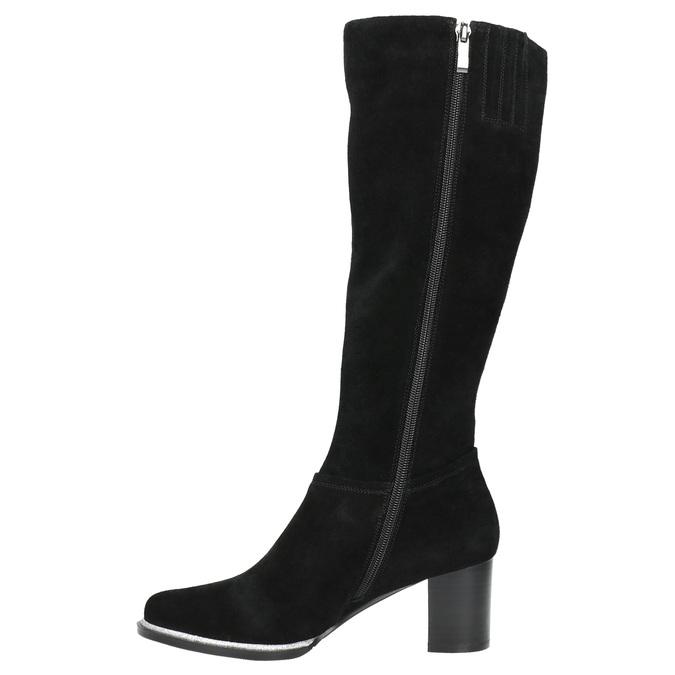 Čierne čižmy z brúsenej kože bata, čierna, 693-6603 - 19