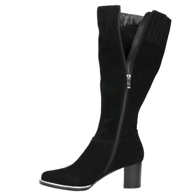 Čierne čižmy z brúsenej kože bata, čierna, 693-6603 - 26