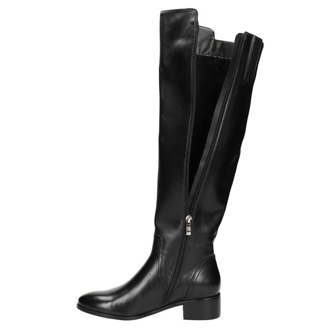 Kožené dámske čižmy so zipsom bata, čierna, 594-6653 - 26