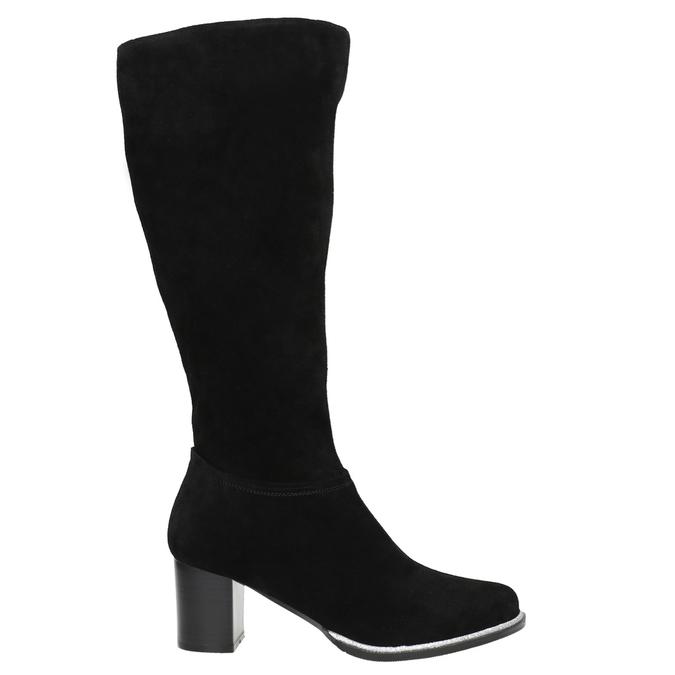 Čierne čižmy z brúsenej kože bata, čierna, 693-6603 - 15