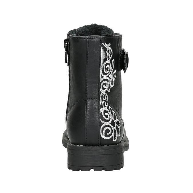 Členková detská obuv s výšivkou mini-b, čierna, 391-6654 - 17
