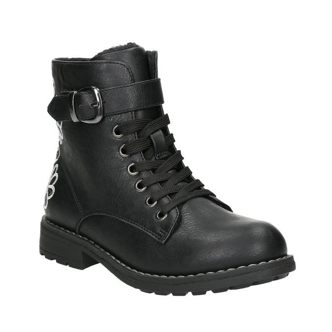 Členková detská obuv s výšivkou mini-b, čierna, 391-6654 - 13