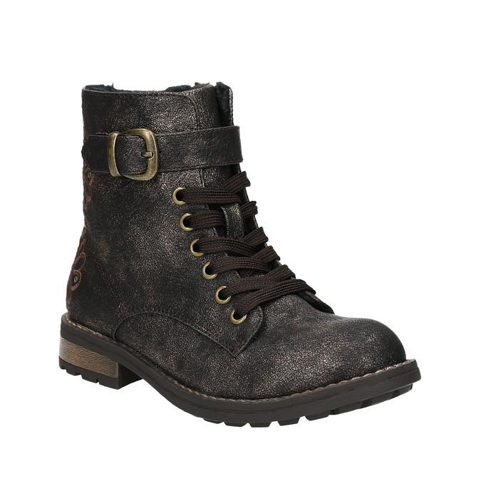 Detská zimná obuv s výšivkou mini-b, hnedá, 391-8654 - 13