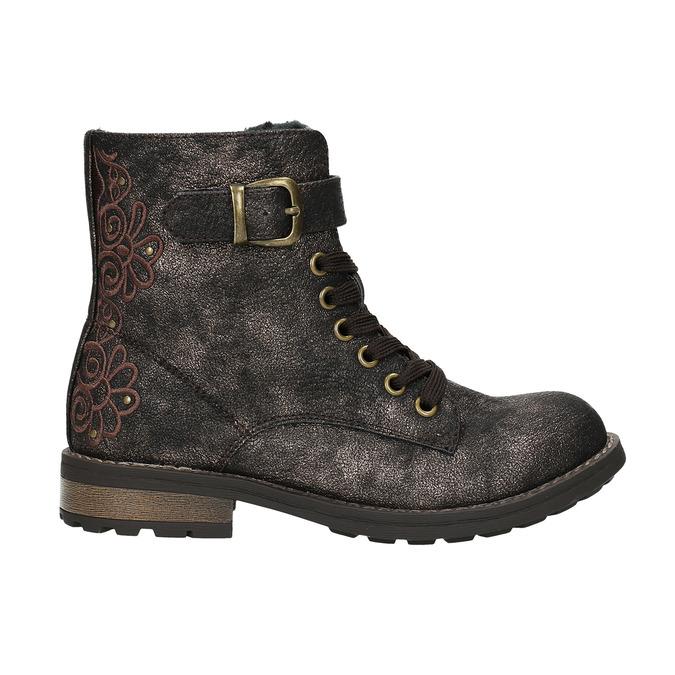 Detská zimná obuv s výšivkou mini-b, hnedá, 391-8654 - 15