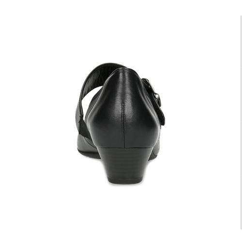Kožené baleríny s remienkom cez priehlavok gabor, čierna, 514-6118 - 15