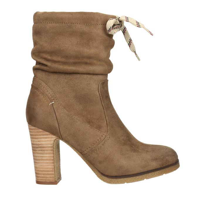 Hnedé čižmy na podpätku bata, hnedá, 799-3613 - 15